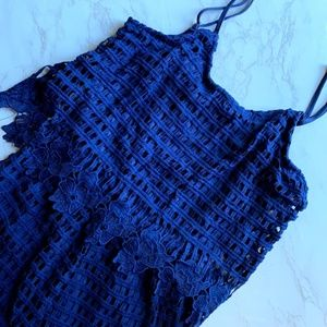 Anthropologie Alya Lace Blue Romper Size Medium